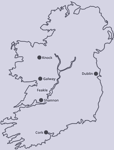 Ireland's airports in relation to our location.